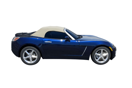 Blue convertible sports car roadster, isolated on white.