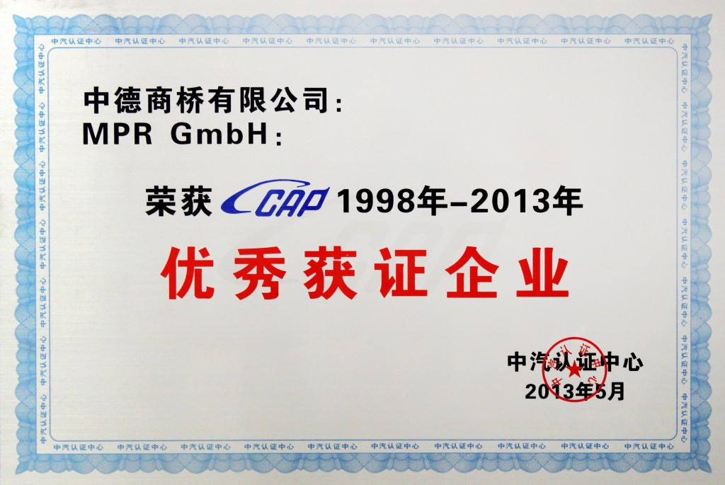 Award van CCAP voor MPR China Certification GmbH – China Certification